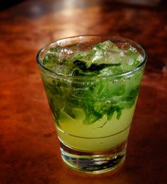 Billy's A Team by Saveur. Inspired by Moneyball, this refreshing herbal drink gets it's money-green hue from muddled mint and basil. This recipe was developed by Nitehawk Cinema's Beverage Director JenMarshall.