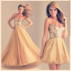You can get this gold dress in a long or short style!