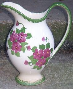 Vintage 1945 Cash Family Erwin Tennessee Handpainted Pitcher with Red Flowers
