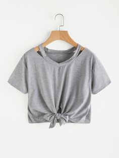 01a92ffe Farjiang Hot Sale Womens Blouse Tee Fashion Casual Cut Out V Neck Bowknot  Bandage TShirt TopsL,Gray *** See this great product.
