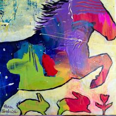 Horse Bunny Rabbits Jumping Original Painting by Caren by caren