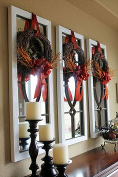 Fall Decorating Ideas: Bring a pop of fall color to your mirrors. All three of these fall wreaths were made for less than twenty dollars. Using grapevine wreaths, some wheat picks and ribbon, they're inexpensive and very easy to make.