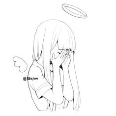 """""""Every human walks around with a certain kind of sadness. They might not wear it on their sleeves, but it's there if you look deep""""  #art #artist #sketch #doodle #angel #sad #quote"""