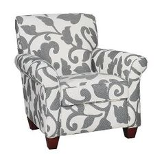 36 Inch Onyx Floral Upholstered Accent Chair