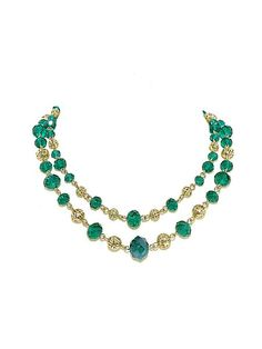 1928 Vintage Gold & Emerald Bead Necklace