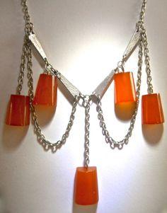 Bakelite Art Deco Necklace, Dangle Swag, Amber Silver Tone Vintage