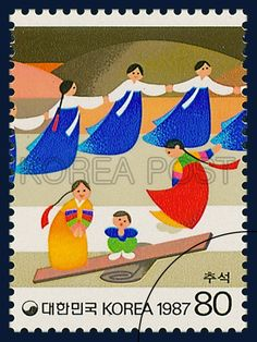 POSTAGE STAMPS FOR FOLKWAYS SERIES(Ⅳ), Chuseok, traditional culture, blue, white, red, 1987 09 10, 민속시리즈(네번째묶음), 1987년 09월 10일, 1513, 추석, postage 우표