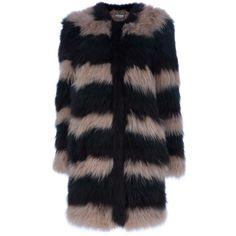 YVES SALOMON striped fox fur coat