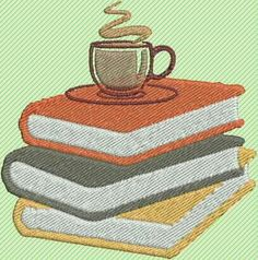Excited to share the latest addition to my #etsy shop: coffee embroidery, book embroidery, modern embroidery, embroidery artwork, machine embroidery, embroidery design, embroidery pattern http://etsy.me/2hxW1h5