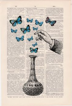 Blue Butterfly collage Anitque Book Art Upcycled Art Print Book Print The bottle of wonders-collage Print Tumblr Wallpaper, Wallpaper Iphone Cute, Butterfly Drawing, Blue Butterfly, Newspaper Art, Arte Obscura, Dictionary Art, Anatomy Art, Art Drawings Sketches