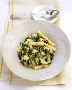 Rigatoni with Swiss Chard — Swiss chard with garlic and wine is a highlight of this pasta dish with ricotta and toasted pine nuts Swiss Chard Pasta, Sauteed Swiss Chard, Swiss Chard Recipes, Rigatoni Recipes, Pasta Recipes, Cooking Recipes, Dinner Recipes, Easy Cooking, Drink Recipes