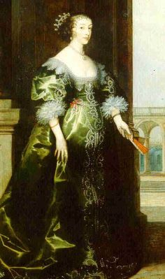 1633-1635 Henrietta Maria in court dress by ?, background by Hendrik van Steenwyck the Younger (National Portrait Gallery, London) | Grand Ladies | gogm