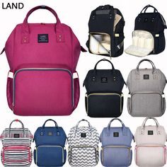c47f204598 GENUINE LAND Multifunctional Diaper Bags Mummy Backpack Changing Bag Baby  Nappy