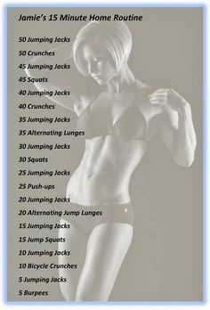Jamie Eason's 15 Minute Home Routine. I did this yesterday for the first time and I LOVED it and so did my body! MH