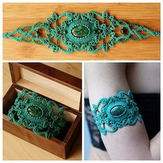 Armlet with malachite in pyrite #macrame #micromacrame #svitoe #handmade #green…                                                                                                                                                                                 Mais