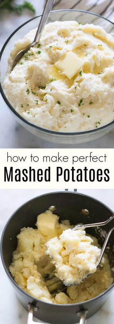 Learn the secrets to making perfect light, fluffy, and flavorful Mashed Potatoes! Homemade mashed potatoes are the epitome of comfort food. Steak And Mashed Potatoes, Perfect Mashed Potatoes, Fluffy Mashed Potatoes, Homemade Mashed Potatoes, Making Mashed Potatoes, Mashed Potato Recipes, Potato Dishes, Cheesy Potatoes, Baked Potatoes
