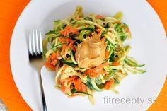 Cuketovo-mrkvové rezance s arašidovou omáčkou Tofu, Spaghetti, Vegan, Ethnic Recipes, Fitness, Vegans, Noodle