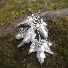 Leaves of Lorien Necklace Artisan Crafted with Real by SilvanArts