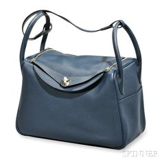 """Blue Leather """"Lindy"""" Bag, Hermes 