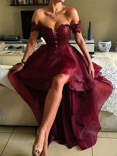 A-Line/Princess Sleeveless Off-the-Shoulder Asymmetrical Applique Organza Dresses - Hebeos Online, PO16033PO552, Spring, Summer, Fall, Winter, Organza, Off-the-Shoulder, A-Line/Princess, Sleeveless, Applique, Natural, Other, Asymmetrical, hebeos.com