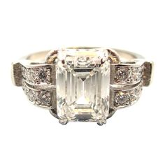 Timeless Art Deco Platinum & 2.05 Carat Emerald Cut Diamond Engagement Ring | From a unique collection of vintage engagement rings at http://www.1stdibs.com/jewelry/rings/engagement-rings/