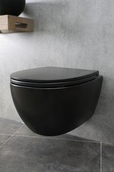 Toilet cabinet - Home or Pondo - Home DesignToilet cabinet toilet room. Solid oak, matt white and matt black combined. Luxury toilet designed by GJ Meijer. Black toilet by Duravit, tiles Toilet Mat, Guest Toilet, Toilet Room, Downstairs Toilet, Bad Inspiration, Bathroom Inspiration, Bathroom Styling, Bathroom Interior Design, Farrow Ball