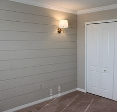House-Bar Ideas DIY Shiplap Nursery Wall - Schnickschnack & Bohrer Most Popular Sweaters Article Gray Shiplap, Shiplap Diy, Painting Shiplap, Accessible Beige, Accent Wall Bedroom, Accent Walls, Ship Lap Accent Wall, Wall Trim, Ship Lap Walls