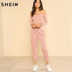 SHEIN Women 2 Piece Set Top and Pants Casual Woman Set Off the Shoulder Crop Bardot Top and Drawstring Pants Set - Mode & Fashion Online Shop ✔ Sport Style, Short T Shirt, Fashion Online Shop, Fall Collection, Suits For Women, Clothes For Women, Mode Top, Streetwear, Bardot Top