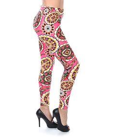Look at this #zulilyfind! Fuchsia & Yellow Medallion Leggings #zulilyfinds