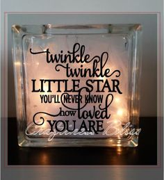 """Twinkle Twinkle Little Star inspirational quote night light  Custom 7.75"""" x 7.75""""  Lighted Glass Block Home decor"""
