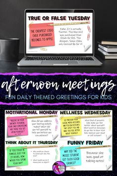 End your school day in a consistently positive and engaging way with these daily themed afternoon meeting whiteboard 5 minute prompts! There are 200 slides, more than enough for one for every day of the school year! School Resources, Teacher Resources, Teaching Ideas, Character Education, Character Development, Physical Education, Personal Development, Morning Meeting Activities, Time Activities