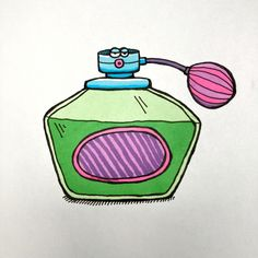 My entry to #doodlewashjune2021 daily drawing challenge. Day 25 prompt: 'Perfume Bottle' Bottle Drawing, Alcohol Markers, Daily Drawing, Drawing Challenge, Prompt, Moleskine, Perfume Bottles, Doodles, Drawings