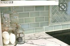 Green and blue subway tile