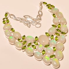 CLASSIC LOOK ETHIOPIAN OPAL WITH FACETED PERIDOT - 925 SILVER NECKLACE 18""