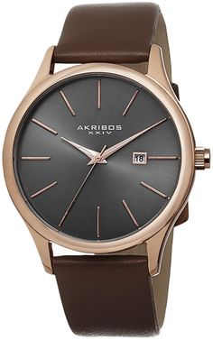 Akribos XXIV Men's AK618RG Essential Rose-tone Stainless Steel Brown Leather Strap Watch