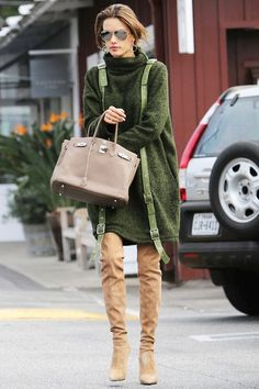Alessandra Ambrosio Rocks A Sweater Dress