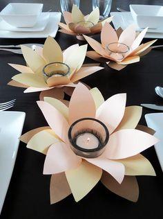 DIY Flower Votive Tutorial ⋆ Dream a Little Bigger Giant Paper Flowers, Paper Roses, Diy Flowers, Fabric Flowers, Diy Candle Holders, Diy Candles, Battery Candles, Diy Paper, Paper Crafts
