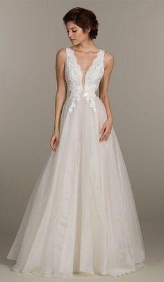 bc08f0e85ced MARIA - A-line V-neck Court train Organza Wedding dress Abiti Da Sposa