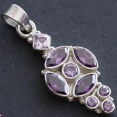 1.49'' AMETHYST PURE 925 STERLING SILVER  PENDANT JEWELRY# PFCP-100 #Pendant