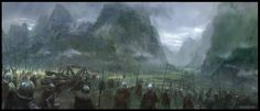 Landscape by famalchow mountains soldiers fighters knights battle landscape location environment architecture | Create your own roleplaying game material w/ RPG Bard: www.rpgbard.com | Writing inspiration for Dungeons and Dragons DND D&D Pathfinder PFRPG Warhammer 40k Star Wars Shadowrun Call of Cthulhu Lord of the Rings LoTR + d20 fantasy science fiction scifi horror design | Not Trusty Sword art: click artwork for source