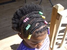 """bead barrette alternative Braided cornrows with 1"""" Sidewinders from hairholders.com. Perfect for African American girls hairstyles. My husband was diagnosed with dementia two years ago at age 55 (so young). It's been a hard pill to swallow. If you like Sidewinders, repinning this photo helps keep me at home to care for my husband while I still earn a living running a business I love!"""
