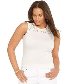 Lauren Ralph Lauren Plus Size Sleeveless Lace-Yoke Sweater