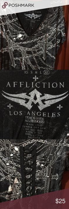 Affliction VNeck Tshirt, Size XL Ladies Affliction VNeck Tshirt, with lace details in the back, shirt is in great condition, size XL Affliction Tops Tees - Short Sleeve