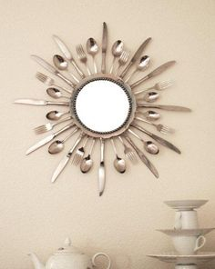 Make a cutlery Star Burst mirror tutorial and 45 BEST Shabby Lifestyle Decor & Accessory DIY Tutorials EVER!! From MrsPollyRogers.com