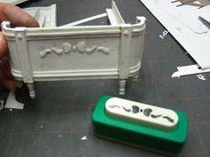 Dollhouse Miniature Furniture - Tutorials | 1 inch minis: Sabby Chic Card Stock Bed with No-Sew Mattress Tutorial -- How to make a bed using...