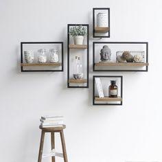 modern wooden wall shelves design ideas for living room 2019 Unique Wall Shelves, Wooden Wall Shelves, Wall Shelves Design, Decorative Wall Shelves, Bedroom Wall Shelves, White Wall Shelves, Bookshelf Design, Wall Design, Bathroom Shelf Decor