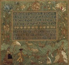 Embroidered sampler, 1766  Rebekah White (American, born ca. 1753)  Salem, Massachusetts  Silk on linen   16 1/2 x 17 1/4 in. (41.91 x 43.82 cm)  Inscribed: [two full alphabets, two partial alphabets] / Rebekah White Wroug / ht This is The 13th Ye / ar of Her Age 1766  Gift of Barbara Schiff Sinauer, 1984 (1984.331.8)