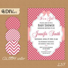"PRINTABLE 5x7"" Baby Shower Invitation - polka dots, stripes, chevron - pink and gray or custom color - 237 by DIVart"
