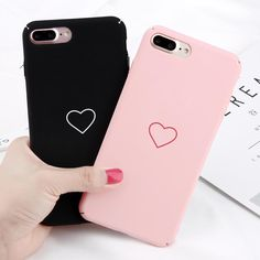 Love Heart Hard Plastic Plain Back Pc Skin Case Cover For Iphone 8 7 6 Plus Bff Cases, Couples Phone Cases, Cute Phone Cases, Smartphone Case, Iphone Phone Cases, Iphone 7 Plus Cases, Phone Covers, 7 Plus Black, Capas Iphone 6