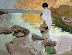Elena in cove, San Vicente at Majorca, 1919 Joaquin Sorolla y Bastida See… Georges Braque, Spanish Painters, Spanish Artists, Art Plage, Beaux Arts Paris, Nautical Painting, Google Art Project, Beach Art, Figure Painting